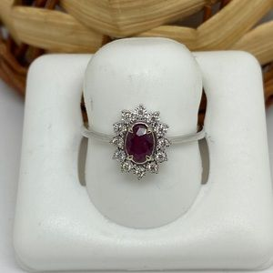 Gold Natural Genuine Diamond and Ruby Ring